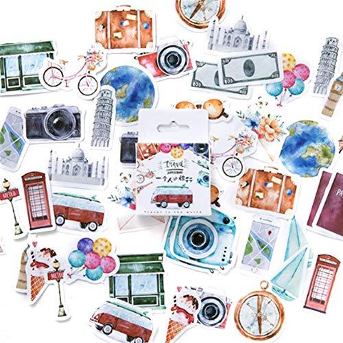 Cute Sticker 45PcsBox DIY Decorative Stickers Travel Theme Diary Scrapbook School Stationery