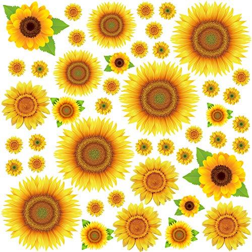 Sunflowers Wall Sticker Yellow Flowers Wall Decals Floral Removable Wall Stickers Wall Decal for Kids Nursery Bedroom 45Pcs
