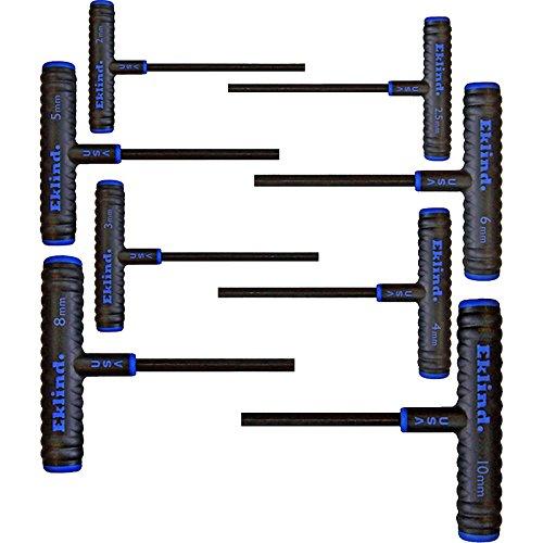 EKLIND 64608 Power-T Handle Hex Key allen wrench - 8pc set Metric MM sizes 2-10 6In shaft