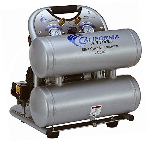 California Air Tools CAT-4620AC Ultra Quiet Oil-Free 20 hp 40 gallon Aluminum Twin Tank Electric Portable Air Compressor Silver