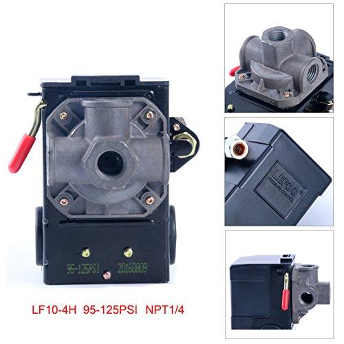 Lefoo Quality Air Compressor Pressure Switch Control 95-125 PSI 4 Port w Unloader LF10-4H-1-NPT14-95-125