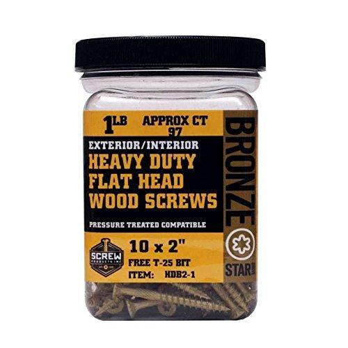 Screw Products Inc HDB312-1 No 10 X Heavy Duty Bronze Star Exterior Use Star Drive Wood Screws