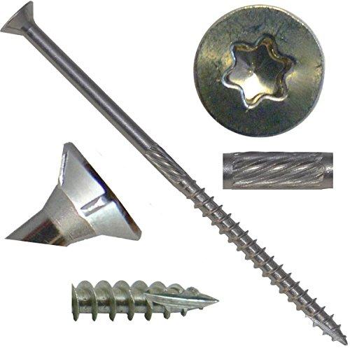 10 x 4 Silver Star Stainless Steel Wood Screw TorxStar Drive Head 5 Pound - 305 Stainless Steel TorxStar Drive Wood Screws ~280 Screws