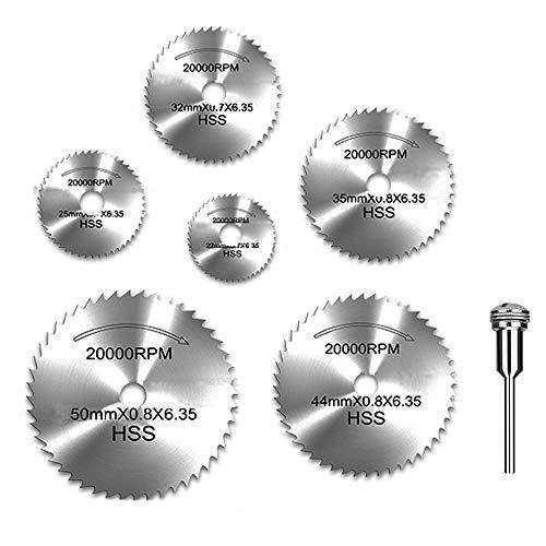 Lukcase 6pcs 18 HSS High Speed Steel Circular Saw Blades For Dremel Rotary Tool WShank