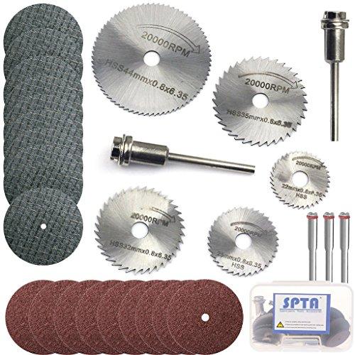 SPTA HSS Saw Blades Rotary Tool Circular Saw Blade Resin Metal Cutting Blade Wheels Disc Set for Proxxon Dremel Rotary Tool Pack Of 40Pcs