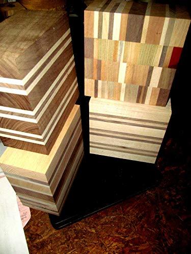 Kiln Dried Laminated Colorful Lathe Turning Exotic Wood Bowl Blanks Blocks 6 X 6 X 3 Set of 4