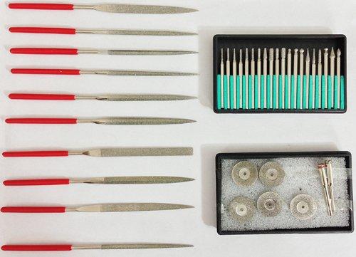 Set of 37PC Diamond Coated Burrs Cut off Wheel Disc Lapidary File Rotary Bits