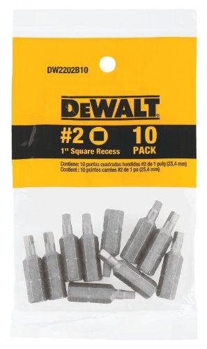 DEWALT DW2202B10 2 Square Recess 1-Inch Bit Tip 10-Pack