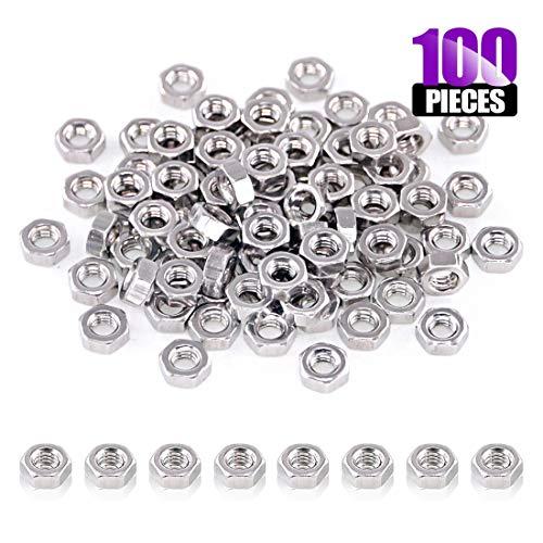 Swpeet 100Pcs M4 Metric 304 Stainless Steel Hex Nuts Coarse Thread Hexagon Nut 9 Sizes - M2 M25 M3 M4 M5 M6 M8 M10 M12