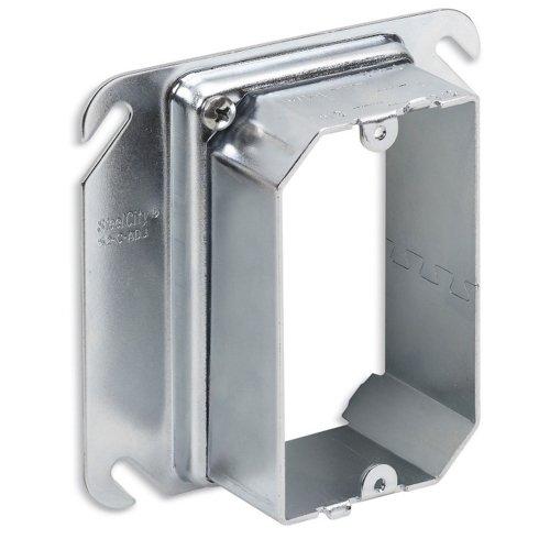 Thomas Betts 52CADJ Pre-Galvanized Steel 1-Gang Raised Adjustable Mud Ring 4 Inch x 4 Inch x 1-12 Inch Steel City