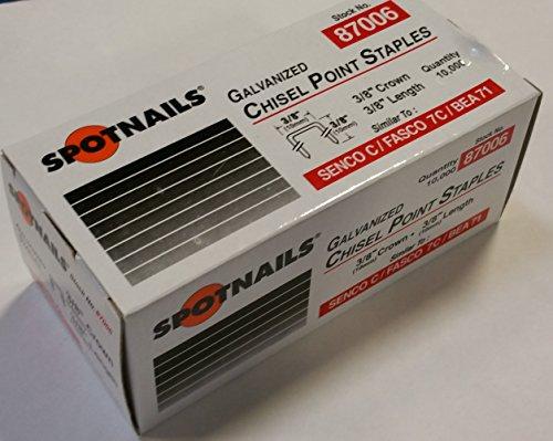Spotnails 87006 Galvanized Chisel Point Staples 10mm 38 Simular to SENCO C  FASCO 7C  BEA 71 Quantity10000 staples