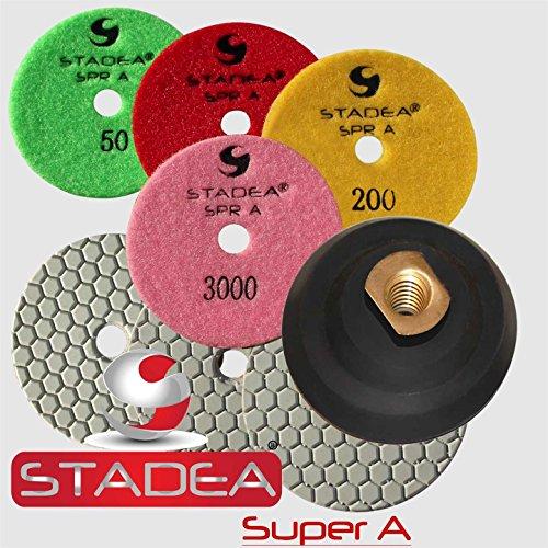 dry granite polishing kit 4 inch - Diamond Polishing Velcro Backing Pads Set By STADEA