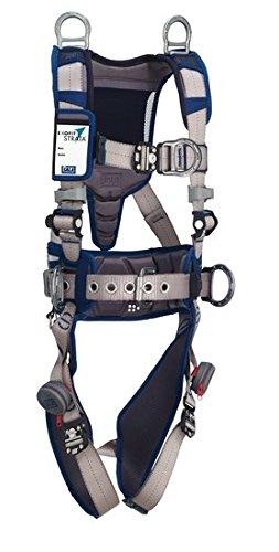 3M DBI-SALA 1112561 ExoFit STRATA Aluminum 6 D-Rings Locking QC Buckles with Sewn in Hip Pad Belt Medium BlueGray