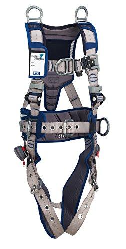 3M DBI-SALA 1112576 ExoFit STRATA Aluminum 6 D-Rings Tongue Buckle Leg Straps with Sewn in Hip Pad Belt Medium BlueGray