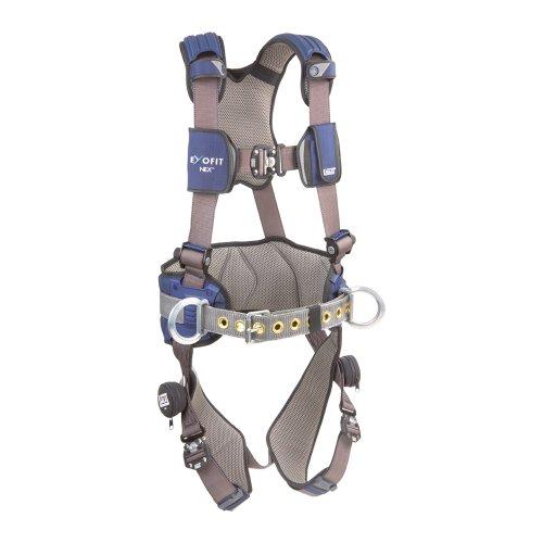 3M DBI-SALA ExoFit NEX 1113124 Construction Harness Alum BackSide D-Rings Locking Quick Connect Buckles Sewn In Hip Pad Belt Medium BlueGray