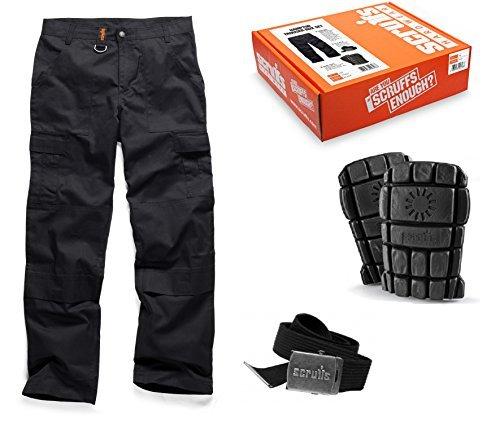 Scruffs Hampton Black Trousers  Kneepads and Belt Box Set Waist Size 36 by Scruffs