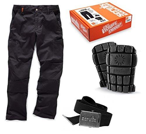 Scruffs Stirling Black Trousers  Kneepad and Belt Box Set Size 36 Waist by Scruffs