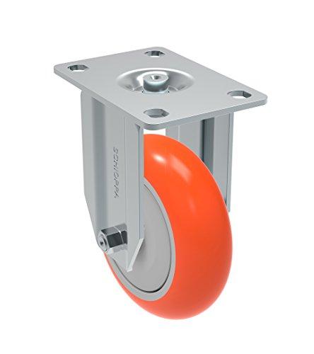 Schioppa FLA 412 UPE L12 Series 4 x 1-14 Diameter Rigid Caster Non-Marking Polyurethane Precision Ball Bearing Wheel Plate 3-34 x 2-12 Bolt Holes 3 x 1-34 275 lb