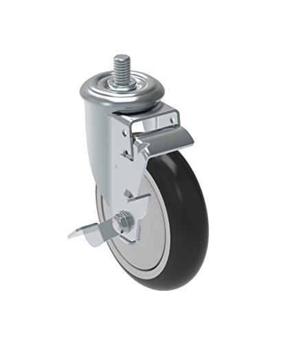 Schioppa GLEED 512 NPE SL L12 Series 5 x 1-14 Diameter Swivel Caster with Wheel Lock Brake Non-Marking Polypropylene Precision Ball Bearing Wheel 38 Diameter x 1 Length Threaded Stem 325 lb