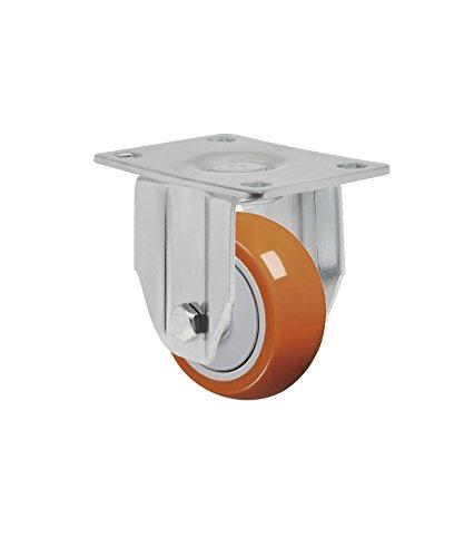 Schioppa L12 Series FLA 312 UPE 3 x 1-14 Rigid Caster Non-Marking Polyurethane Precision Ball Bearing Wheel 175 lbs Plate 3-34 x 2-12 Bolt Holes 3 x 1-34