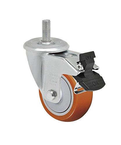 Schioppa L12 Series GLEEF 312 UPE G 3 x 1-14 Swivel Caster with Total Lock Brake Non-Marking Polyurethane Precision Ball Bearing Wheel 175 lbs 38 Diameter x 1-12 Length Threaded Stem