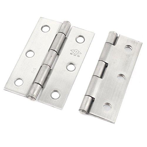 2pcs Silver Tone Metal Ball Bearing Door Hinges Hardware 25inch