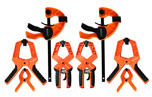 Bar Clamp Set Pack of 8 - Quick Grip Ratchet Clamp for Light-duty Woodworking Carpentry Home Improvement - Adjustable Bar Clamps and Spring Clamps with Removable Jaw Pads by Neocraft