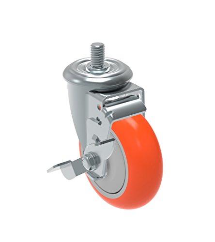 Schioppa GLEED 412 UPE SL L12 Series 4 x 1-14 Diameter Swivel Caster with Wheel Lock Brake Non-Marking Polyurethane Precision Ball Bearing Wheel 38 Diameter x 1 Length Threaded Stem 275 lb