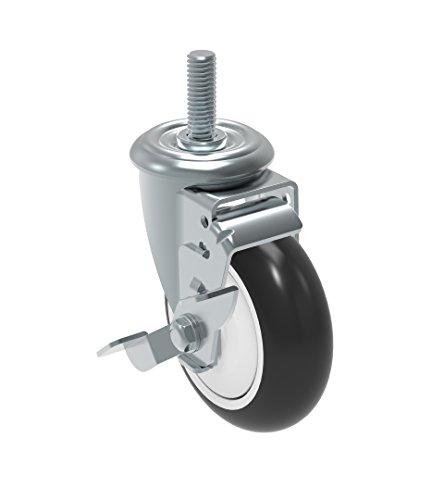 Schioppa GLEIH 412 NPE SL L12 Series 4 x 1-14 Diameter Swivel Caster with Wheel Lock Brake Non-Marking Polypropylene Precision Ball Bearing Wheel 12 Diameter x 2 Length Threaded Stem 275 lb