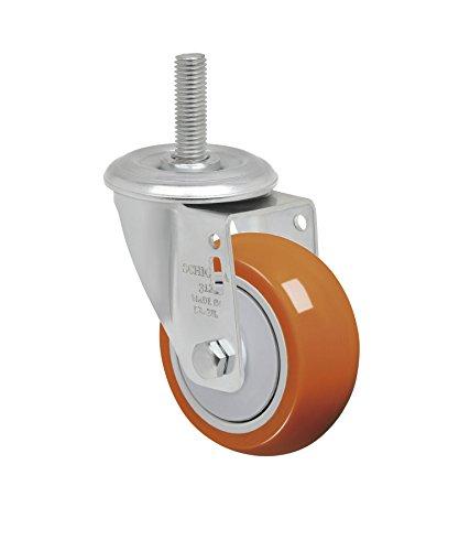 Schioppa L12 Series GLEIH 312 UPE 3 x 1-14 Swivel Caster Non-Marking Polyurethane Precision Ball Bearing Wheel 175 lbs 12 Diameter x 2 Length Threaded Stem