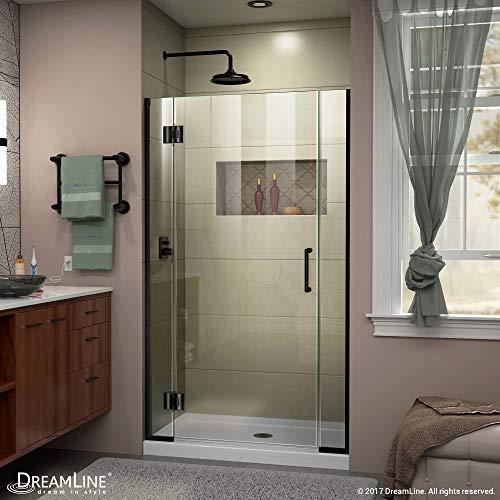 DreamLine Unidoor-X 42-42 12 in W x 72 in H Frameless Hinged Shower Door in Satin Black D1300672-09
