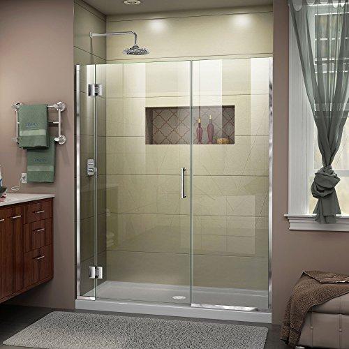 DreamLine Unidoor-X 57 12-58 in W x 72 in H Frameless Hinged Shower Door in Chrome D12922572-01