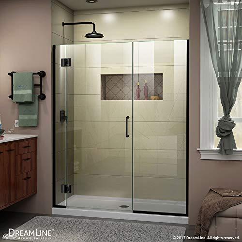 DreamLine Unidoor-X 64 12-65 in W x 72 in H Frameless Hinged Shower Door in Satin Black D12830572-09