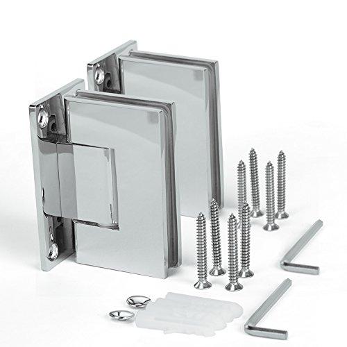 SUNNY SHOWER SH-CH 1 Pair 2 Hinges Frameless Pivot Shower Door Hinge 90 Degree Wall-to-Glass Stainless Steel Polished Chrome