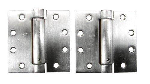 Adjustable Spring Hinges 45 X 45 Square in Stainless Steel - Self Closing Hinges - Door Closing Hinges - 2 Pack