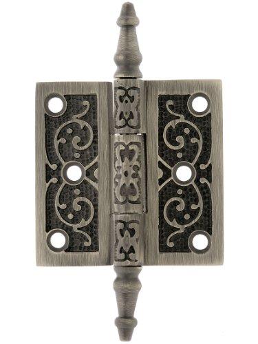 2 12 Solid Brass Steeple Tip Hinge With Decorative Vine Pattern In Antique Pewter Exterior Door Hinges