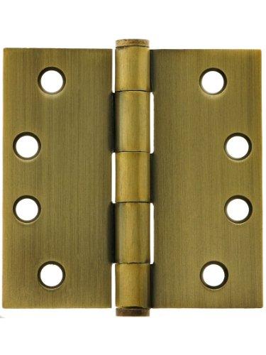 4 Heavy Duty Plated Steel Door Hinge With Button Tips In Antique Brass Door Hinges