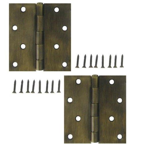 Stanley 821-223 4 Inch Square Corner Door Hinges Antique Brass Pack of 2