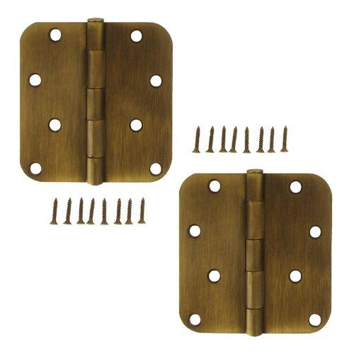 Stanley S803-507 4 Inch 58 inch Radius Antique Brass Door Hinges Pack Of 2