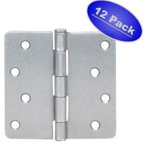 Cosmas Satin Nickel Door Hinge 4 Inch x 4 Inch with 14 Inch Radius Corners - 12 Pack