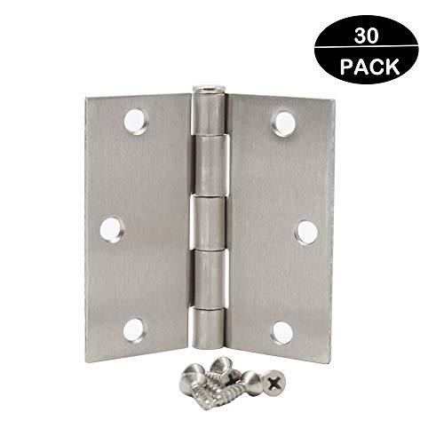 Probrico30 Pack Hardware Door Hinges-Heavy-Duty 3 ½ x 3 ½ Inch Interior Hinges for Doors Brushed Satin Nickel with Square Corners Door Hinges