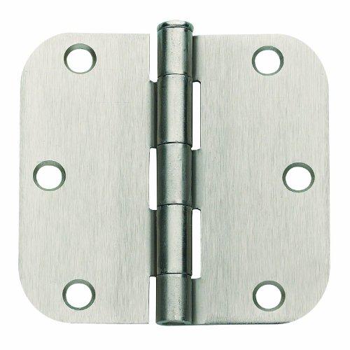 Global Door Controls 35 in x 35 in Satin Nickel Plain Bearing Steel Hinge with 14 in Radius - Set of 2