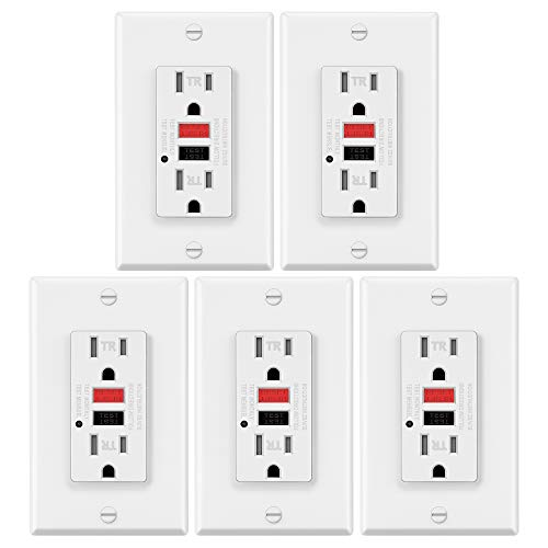 5 Pack - ELECTECK 15A125V Tamper Resistant GFCI Outlets Duplex Receptacle with LED Indicator Decor Wall Plate and Screws Included Red Button for RESET and Black for TEST ETL Certified White
