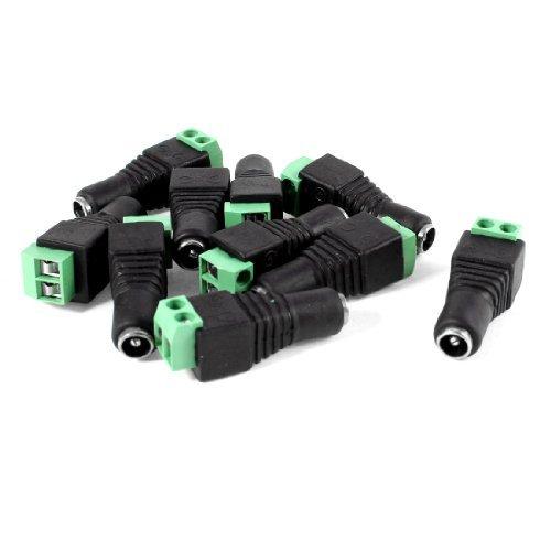 1 X 10 Pcs Screw Fixing 55x21mm Female CCTV DC Power Connector Plug Adapter