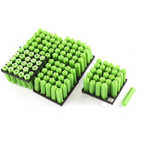 7x26mm Plastic Screws Fixing Wall Plugs Anchor Green 125Pcs