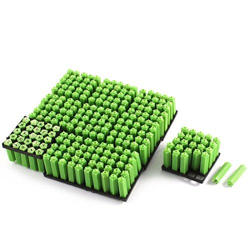 7x26mm Plastic Screws Fixing Wall Plugs Anchor Green 250Pcs