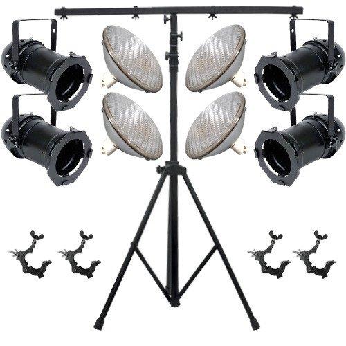 4 Black PAR CAN 64 1000w PAR64 WFL O-Clamps 9ft Stand