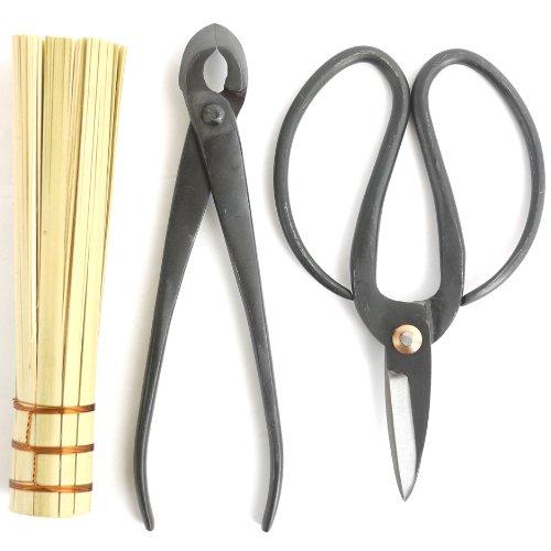 ThinkBamboo Bonsai Basics Set - 8 Concave Cutter 7 Heavy Duty Shear and Bamboo Brush